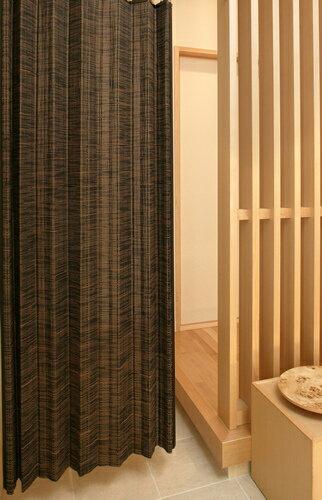 バンブーカーテン:カスリ200x175cm【1枚組】:送料無料 和風アジアン 竹