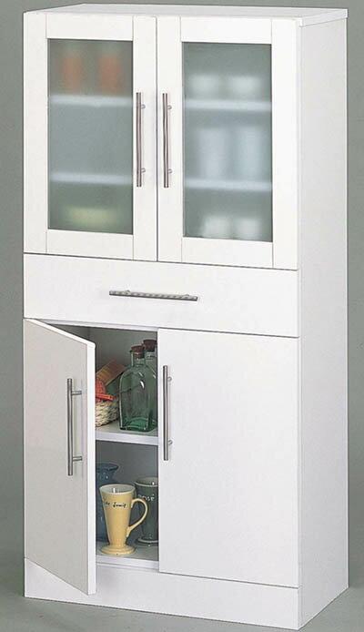 キッチン食器棚White/ミドルタイプ/W60×H120:送料無料
