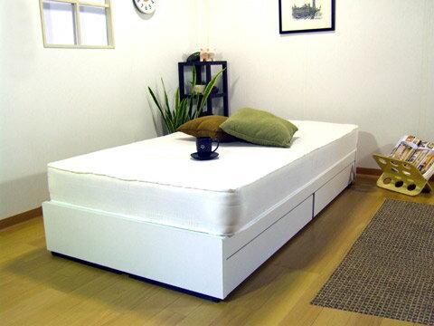 ヘッドレス引出付ベッドホワイトカラー:シングルマット付:送料無料ベッド ベット