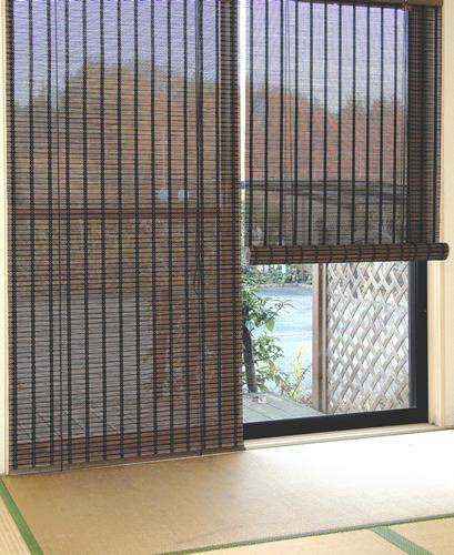 バンブースクリーン:スクエア176x180cm:送料無料 和風アジアン ロールアップスクリーン  竹