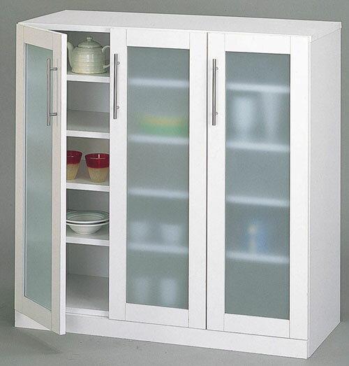 キッチン食器棚White/ロータイプ:送料無料