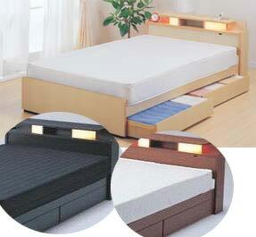 D-22棚照明引出付ベッド《ダブルポケットコイルマット付》:送料無料ベッド ベット