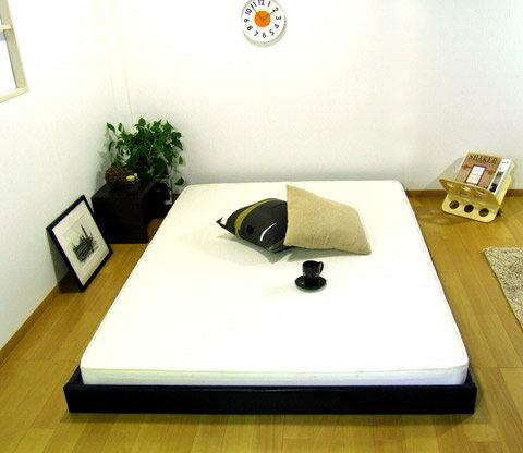 ヘッドレスモダンローベッド:ダブルマット付:送料無料ベッド ベット