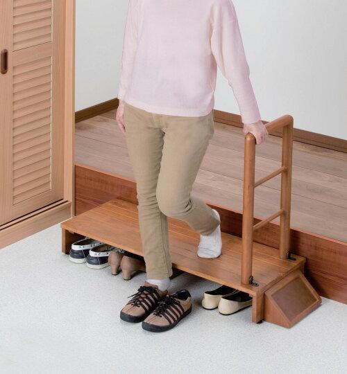 天然木手すり付き玄関踏み台100cm幅