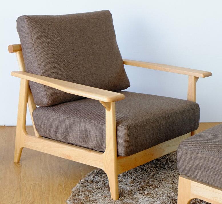 北欧テイストKAZシリーズ自然系オイル塗装アルダー無垢材ソファー一人掛け