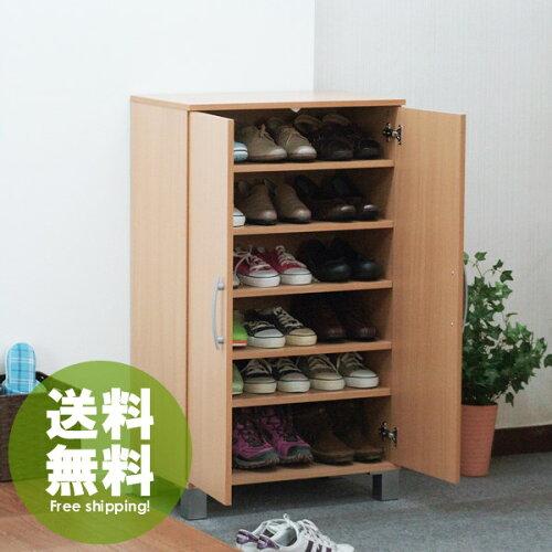 ナチュラルシューズBOX◇ツードア(2door)W60cm:シューズラック下駄箱靴箱:画像1