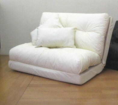 送料無料日本製三つ折れチップソファーベッド:レザー調::国内生産