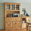 カントリーテイストパイン材天然木無垢木製食器棚カップボードリビングボード飾り棚