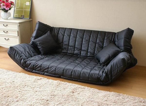 日本製マルチリクライニングラブソファー 低反発 合皮レザー