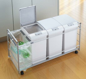 オフィスで使える分別ゴミ箱60Lプラスワンキャスターワゴン付き日本製