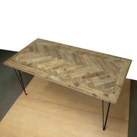 モミ古材ダイニングテーブルヘリンボーン柄ブルックリンヴィンテージスタイル kkkez 幅1600奥行800高720