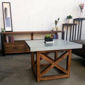 モミ古材コーヒーテーブルブルックリンインダストリアルヴィンテージスタイルジンクトップ亜鉛天板60x60
