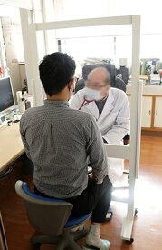 病院お医者様向けウイルス対策飛沫防止透明塩ビパーティション日本製 kkkez アクリル板に代わる素材