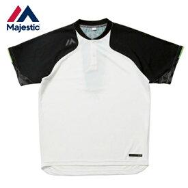 【沖縄県内(離島含)3,240円以上購入で送料無料】マジェスティック Majestic 野球 半袖Tシャツ Authentic Tech 2 button Training SS Tee ホワイト XM01-WHT1-MAJ-0006