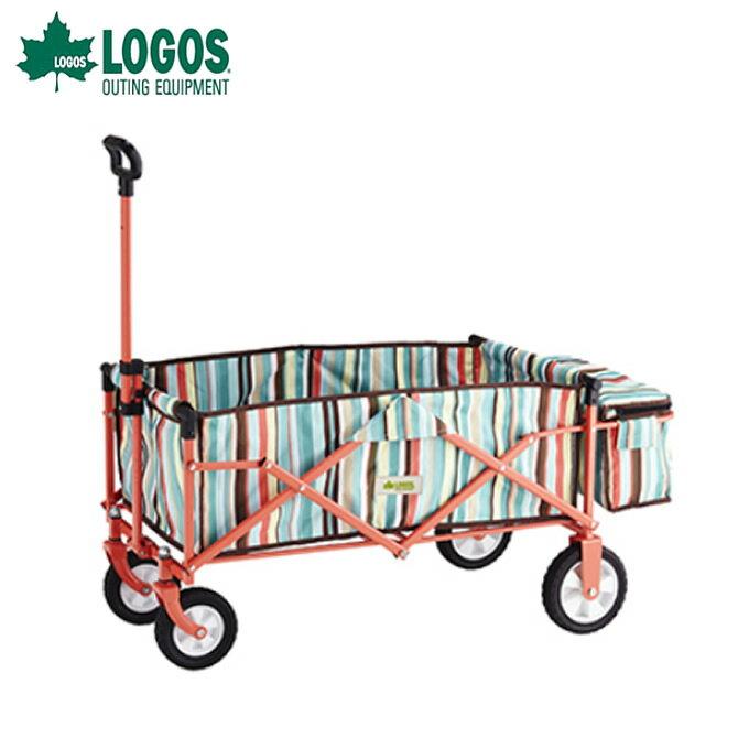 ロゴス LOGOS アウトドアワゴン ストライプ スマートキャリー with BOX ブルー 84720712