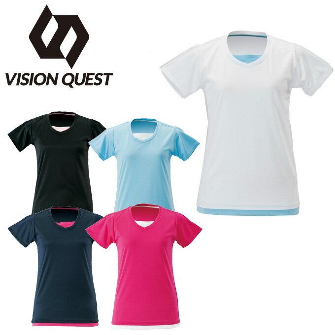 【7,000円以上でクーポン利用可能 11/18 23:59まで】 ビジョンクエスト VISION QUEST Tシャツ 半袖 レディース レイヤード機能Tシャツ VQ451201G02