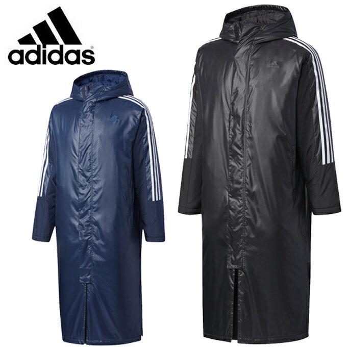 アディダス ロングコート メンズ 3ストライプロングパデッドコート DUW96 adidas