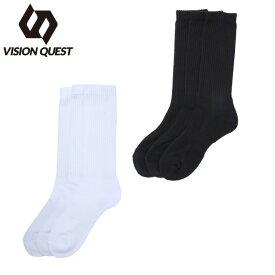 ビジョンクエスト VISION QUEST 3足組ソックス メンズ レディース 3P パイル クルー VQ430105F03A