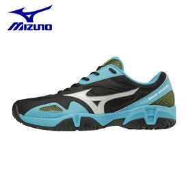 ミズノ テニスシューズ オムニ クレー メンズ レディース インテンスクラブ2 OC 61GB184501 mizuno オムニクレー ブラック×ホワイト×ライトブルー