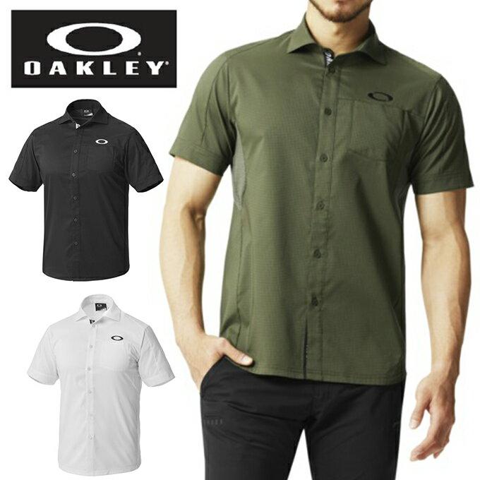 オークリー ゴルフウェア シャツ 半袖 メンズ BARK AERO GRID WOVEN SHIRTS バークエアログリッドウーブンシャツ 401895JP OAKLEY