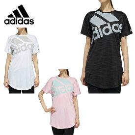 アディダス Tシャツ 半袖 レディース MH 半袖 ヘザー オーバーサイズビッグロゴ ロング丈 Tシャツ FTK40 adidas