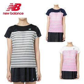 19c2688e5b0a4 ニューバランス テニスウェア Tシャツ 半袖 レディース ボーダーグラフィックショートスリーブTシャツ JWTT9142 new balance