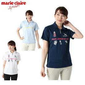 マリ クレール marie claire ゴルフウェア ポロシャツ 半袖 レディース ハーフジップ 719-619H
