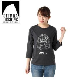 シェラデザインズ SIERRA DESIGNS Tシャツ 長袖 レディース アニマルツリー 防蚊 7分Tシャツ 20934581 CHACOAL