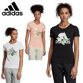 アディダス Tシャツ 半袖 レディース MH ビッグロゴ フラワー Tシャツ FYM88 adidas