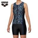 アリーナ arena フィットネス水着 セパレート レディース 大きめカラースナップ付きセパレーツ 差し込みフィットパッド FLA-9941W-BLK