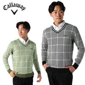 キャロウェイ ゴルフウェア セーター メンズ チェック柄ジャガードニットセーター 241-9260504 Callaway