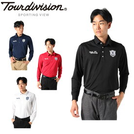 ツアーディビジョン Tour division ゴルフウェア ポロシャツ 長袖 メンズ ワッペン長袖ポロ TD220202I01
