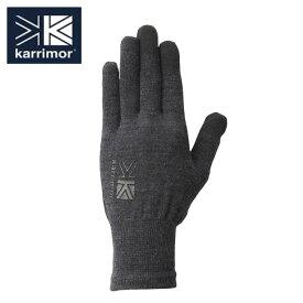 カリマー karrimor 手袋 メンズ レディース ウールロゴ グローブ 5G04UAI1 Black