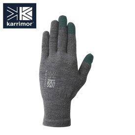 カリマー karrimor 手袋 メンズ レディース ウールロゴ グローブ 5G04UAI1 H.Grey