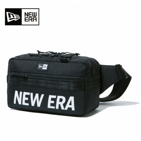 ニューエラ NEW ERA ウエストバッグ メンズ レディース スクエア ウエストバッグ 7L プリントロゴ ブラック × ホワイト 12108396