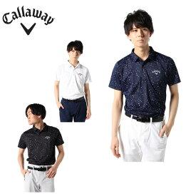 キャロウェイ ゴルフウェア ポロシャツ 半袖 メンズ 桜吹雪プリント鹿の子半袖シャツ 241-0134514 Callaway