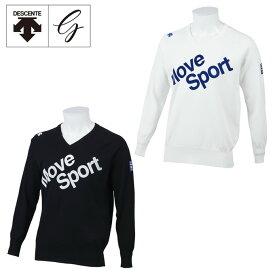 デサントゴルフ ブルー DESCENTE GOLF BLUE ゴルフウェア セーター メンズ 天竺フロッキープリントニットセーター DGMPJL04