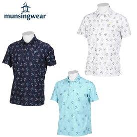 マンシング Munsingwear ゴルフウェア 半袖シャツ メンズ 総柄ロゴPT半袖シャツ MGMPJA36