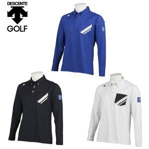 デサントゴルフ ブルー DESCENTE GOLF BLUE ゴルフウェア ポロシャツ 長袖 メンズ ストレッチスムース長袖ポロ DGMQJB13