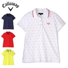 キャロウェイ ゴルフウェア ポロシャツ 半袖 レディース シェプロンプリントカノコ半袖ポロシャツ 2411134808 Callaway