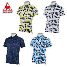 ルコック le coq sportif ゴルフウェア ポロシャツ 半袖 メンズ ストライプカモフラ鹿の子半袖ポロ QGMRJA11