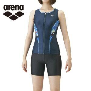 アリーナ arena フィットネス水着 セパレート レディース 大きめカラースナップ付きセパレーツ 差し込みフィットパッド LAR-1243W-NVBU