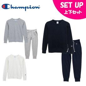 チャンピオン Champion スポーツウェア上下セット レディース クルーネックスウェットシャツ 17FW + スウェットパンツ CW-K014 + CW-K216