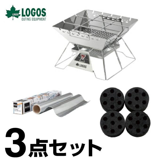 ロゴス LOGOS The ピラミッドTAKIBI L+エコココロゴス ミニラウンドストーブ4+お掃除楽ちんシート 極厚 お買い得3点セット R14AH28