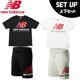 ニューバランス 半袖Tシャツ ハーフパンツ セット メンズ 574 ESSビッグロゴTシャツ+ ショートパンツ MT01528+AMS01512 new balance