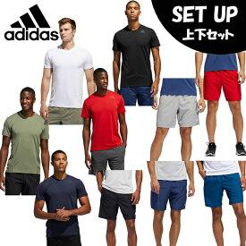 アディダス 半袖Tシャツ ハーフパンツ セット メンズ AEROREADY 3ストライプス Tシャツ AEROREADY 3-Stripes Tee+ショーツ GLC03+FSK71 adidas