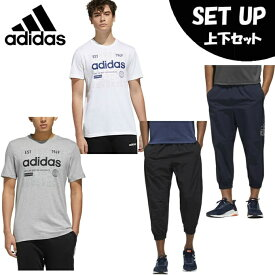 アディダス 半袖Tシャツ ハーフパンツ セット メンズ グラフィックTシャツ+MH 3S 7/8 PT GVB79+GUN39 adidas