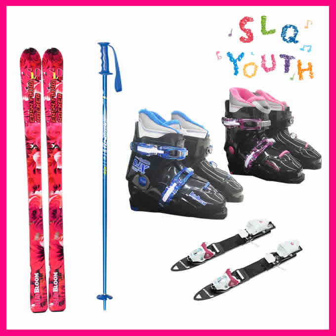 SLQ エスエルキュー ジュニア スキー板4点セット BLOOM+COMP J L+BJ-X+PAIR POLE 子供用スキー 【取付無料】