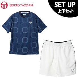 セルジオ タッキーニ SERGIO TACCHINI テニスウェア 上下セット メンズ Tシャツ BOXロゴ半袖シャツ + ハーフパンツ ST530317I07+ST530319I03