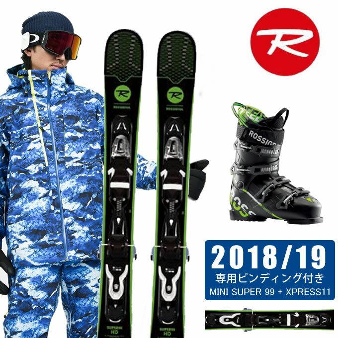 ロシニョール ROSSIGNOL FUNスキー板 3点セット メンズ MINI SUPER + XPRESS11 + SPEED 80 BLACK GREEN スキー板+ビンディング+ブーツ